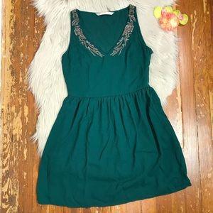 Zara Trafaluc Beaded Green Dress